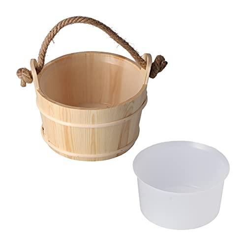 FOLOSAFENAR Barril de Madera para Sauna, Cubo de Madera con Mango de SPA, práctico y Duradero, Cubo de Sauna de 6 l para Sauna, SPA, Piscina, Ducha