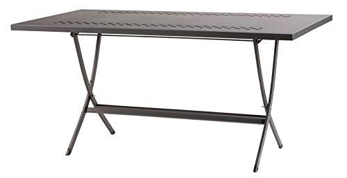 RD ITALIA Tavolo da Giardino Pieghevole 160x80x75 cm in Acciaio Hermes 160 Antracite