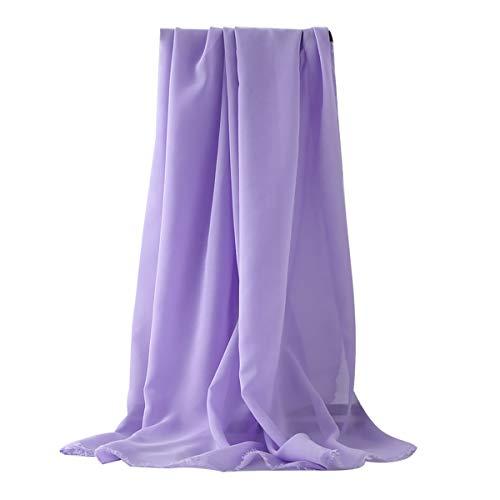 LKXHarleya Chiffon Stoff Schiere, Brautkleid Stoff, Soft Touch Georgette Kleid Material, Meterware, Durchgehende LäNge, Hell Lila