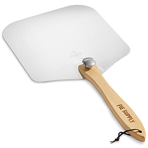 Pie Supply 14 inch x 16 inch Aluminum Pizza Peel with Foldable Wooden Handle for Homemade Pizzas and Baking Bread