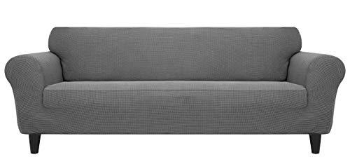 Funda para sofá de 3 plazas, color gris claro, alta elasticidad, de poliéster, antideslizante, con cintas, impermeable y agradable al tacto, para sofá de 3 plazas de 190 a 230 cm de largo