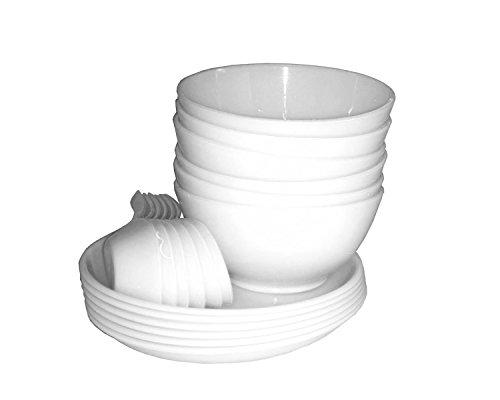 King Internaional bianco Microwable zuppa set di 18pezzi (6ciotola, 6cucchiaio, 6piastra), Mess vassoi ideale per campeggio