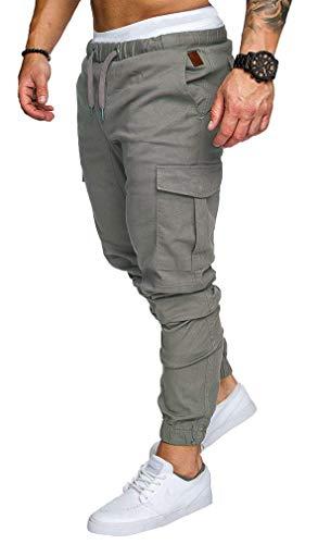 Socluer Uomo Cintura Elastica in Cotone Lungo Pantaloni Cargo con Coulisse Tasche Laterali Trousers della di Sport Pantaloni da Jogging Activewear