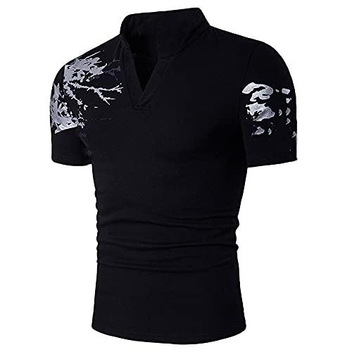 NP Summer Men's Henry Collar Short-Sleeved T-Shirt Black