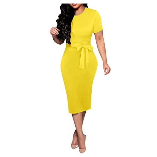 Janly Clearance Sale Vestidos de mujer, sexy para mujer, elegante, de manga corta, vestido de playa, color puro, vestido de mujer (amarillo/XXL)