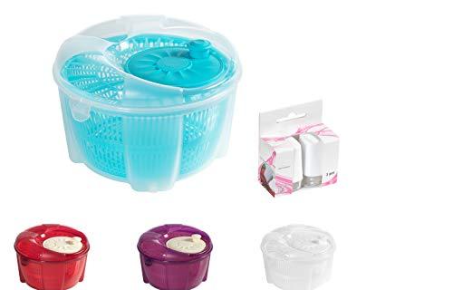 Mabel Home Salatschleuder, Salatschleuder und Mixer, 5,5 Quart, Gemüseschleuder – Extra Salz- und Pfefferstreuer inkl. (blau)