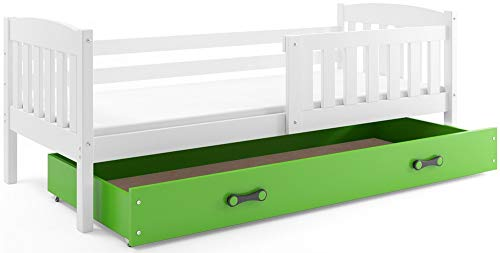 Interbeds Cama individual infantil JACOB 190 x 90 blanco + variaciones, somier de láminas de madera, sin colchón (Verde)