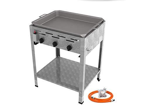 Stand Edelstahl Gasbräter 3 flammig 13,5 KW f. Propangas mit Stahlpfanne + Untergestell + Gasschlauch, Gewerberegler + SBS (Standgerät Gastronomie Kocher Wurstbräter, Gasgrill Bräter)