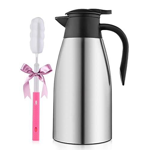 Thermoskanne, Isolierkanne 2L, Kaffeekanne 304 Edelstahl Doppelwand Vakuum Isolierte für Tee oder Kaffee Druckverschluss hält Getränke 12h Kalt & Warm