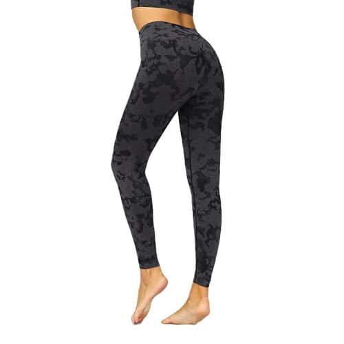 QTJY Pantalones de Yoga sin Costuras de Cintura Alta para Mujer Leggings elásticos Suaves Leggings de Secado rápido para Exteriores Pantalones de Fitness Pantalones de Yoga AS