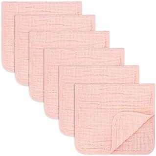 پارچه های پارچه ای Muslin Burp 6 بسته بزرگ 100٪ پارچه دستشویی دستی 6 لایه جاذب و نرم (صورتی)