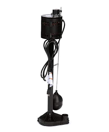 Star 3CEH 1/3 HP Thermoplastic Pedestal Sump Pump with Vertical Float Switch, Low Profile Column Pump, 58 GPM, 3.5 Amps