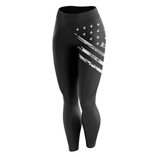 Tactical Pro Supply American Flag Leggings for Women, Workout High Waist Yoga Pants for Ladies - White Crest Flag Black (X-Large)