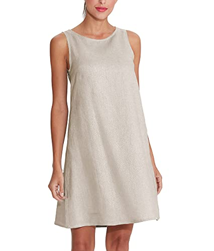 Amazhiyu Women's 100% Linen Sleeveless Shift Dress with Pockets Crew Neck Casual Tank Dress (24# Linen, X-Large)