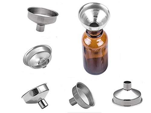 Sinen 6 Pack Stainless Steel Mini Funnels Multipurpose Small Funnels for Drinking Liquor Flask, Essential Oil Bottle, Spice Powder, Amber Bottles, Perfume Liquid, Homemade Make-Up Fillers