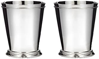 Klikel Mint Julep Cup Classic Beaded Trim Border Moscow Mule Kentucky Derby Julep Set of 2 – Stainless Steel 12oz.
