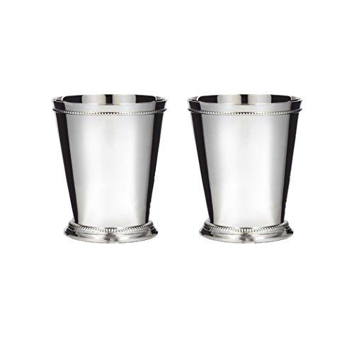 Klikel Julep Becher mit klassischem Perlenrand und Rand aus Edelstahl, 340 ml, Mint Set of 2 silber