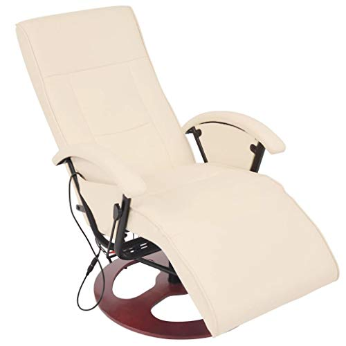 yorten Elektrischer Massagesessel Relaxsessel Fernsehsessel aus Kunstleder Cremeweiß Verstellbare Rückenlehne