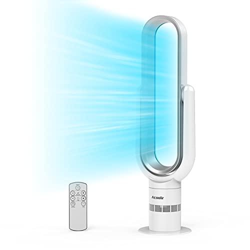 Ventilador de Torre sin Aspas, Ventilador Silencioso con Control Remoto, Oscilación de 90°, 10Velocidades, 9 Horas de Temporizador, Ventilador de Sobremesa para Hogar y Oficina (silver)