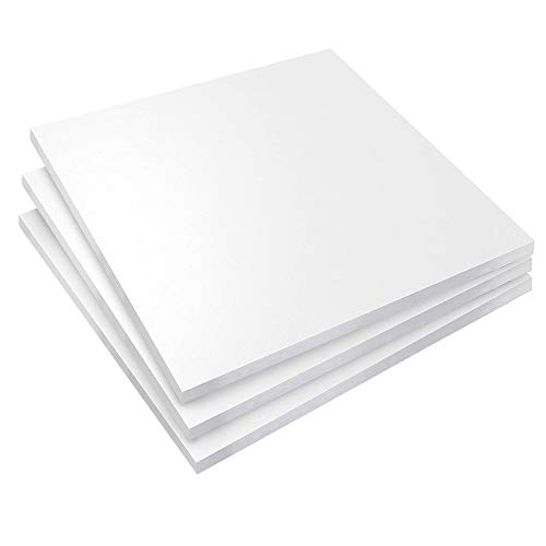 Expanded PVC Sheet 12' x 12' White Printable Rigid PVC Board Sintra, Celtec, Plastic Board Sheet Ideal for Signage, Displays, Durable Plastic Sheet Waterproof for Outdoor (White (1/4'), 3-Pack)