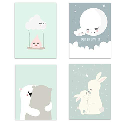 4er Set Kinderzimmer Babyzimmer Poster Bilder Din A4 | Mädchen Junge Deko | Dekoration Kinderzimmer | Waldtiere Safari Skandinavisch 4er-b