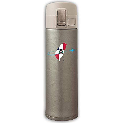 Like-like Bandera Dominicana con Taza Plana de Acero Inoxidable con Aislamiento al vacío - Sin BPA - Taza de café con Tapa de Rebote