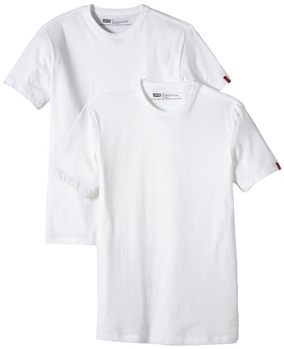 Levi's  2 Pack Crew - Camiseta para Hombre, Blanco (White),