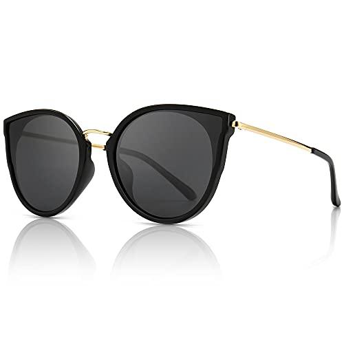 SUNGAIT Donna Occhio di Gatto Polarizzati Vintage Oversize UV-Protezione Occhiali da Sole(Finitura...