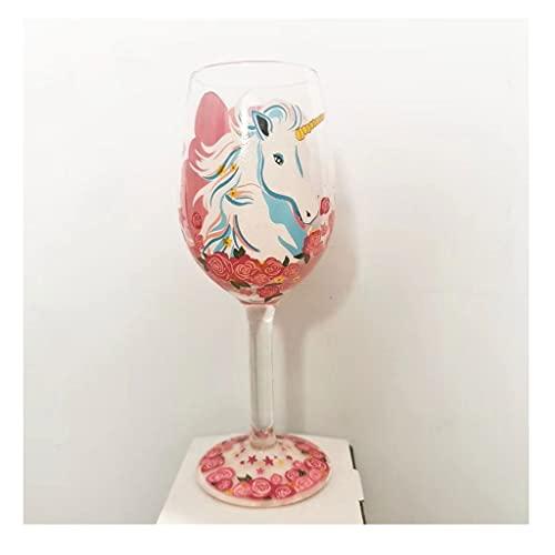 DEF Copa de Vidrio de Vino Rojo Creativo, Copas de Cristal Pintado a Mano, Copas de Vino Lindas Personalizadas para Banquete de Banquete Familiar de Boda (Color : Unicorn)