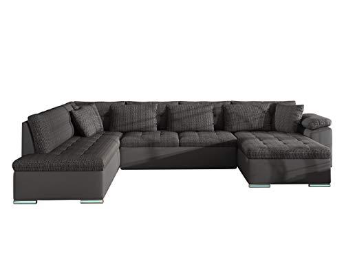 Ecksofa Niko BIS LED Beleuchtung mit Fernbedienung, Eckcouch mit Schlaffunktion und Bettkasten, Wohnlandschaft vom Hersteller, Sofa U-Form Couch (Soft 020 + Majorka 03, Seite: Rechts)