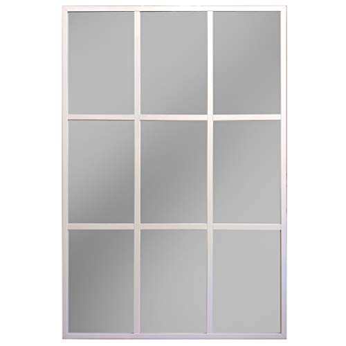 Espejo Ventana, Espejo Industrial, Aluminio Blanco 120 x 80 cm
