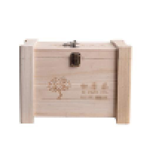 YLiansong-home Teebox Multifunktions-hölzerne dekorative Box mit Schloss, handgefertigter dekorativer Aufbewahrungsbox, Teebox für Teebeutel (Color : Beige, Size : 25x17x14cm)
