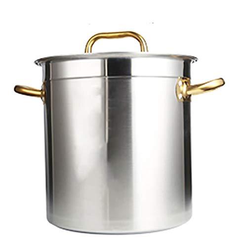 Utensilios de cocina al vapor 304 bote de acero inoxidable, acorazado, olla de sopa profunda de catering con tapa, olla de estofado, utilizado para cocina de gas/cocina de inducción (20-170L) Charol