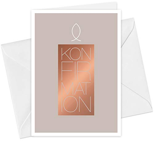 20 Karten & 20 Umschläge: Einladungskarten Konfirmation Motiv Kerze Fisch A6 Klappkarten im Set, Konfirmationskarten Einladung mit Heißfolienprägung (Kupfer)
