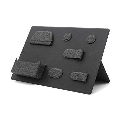 MagEasy デスクオーガナイザー 磁気収納スタンド 卓上収納 クリップボード バインダー 磁気モジュール 小物収納 便利 机上用 小物入れ 仕切り 机上整理 事務用品 オフィス用品 PUレザー(ブラック)