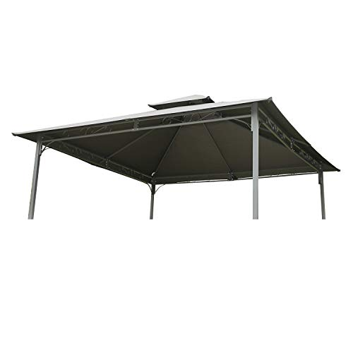 Angel Living Pavillondach Ersatzdach für Garten Pavillon 3x3m Doppelt Pavillondach Ersatzbezug (Grau)