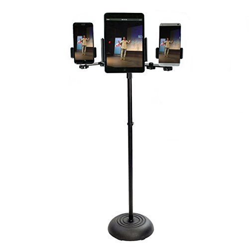 Livestream Gear - Tablet & Phone Mic Stand for Live Streaming at Events. Mount Multiple Phones and a Tablet During Events. (4 Device Mic Stand)