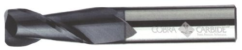 Cobra Carbide 19112 Micro Grain Solid Carbide Regular Length General End Mill, TiAlN Coated, 2 Flute, 30 Degrees Helix, 0.045
