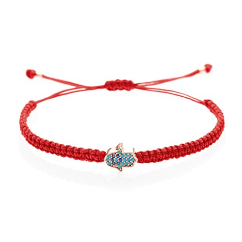 Hamsa Bracelet I Handmade & Adjustable String (Red) I Symbol of protection, power, and strength