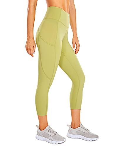 CRZ YOGA Mujer Cintura Alta Leggings Deportivas Fitness Running Pantalones Capri con Bolsillos -48cm Ambiente de limón 42