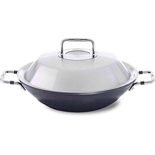 Fissler luno / Aluminium-Wok, beschichtete-Pfanne,Servierpfanne (Ø 31 cm) mit Metall-Deckel, antihaftversiegelt, hoher Rand - Induktion