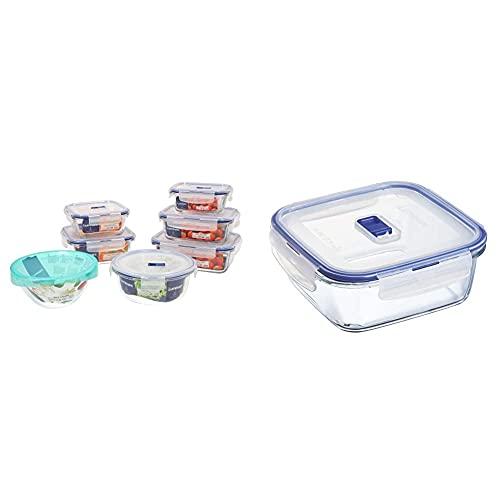 Luminarc Pure Box Active Set 7 recipientes herméticos de Vidrio, Extra Resistentes, Sin BPA + HERMETICO CUAD 122CL Pure Box Active Lum, Transparente y Azul, 1.22 L