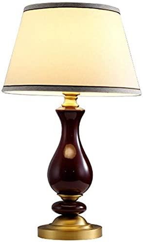 JAKWBR Cerámica Moderna Cerámica Luz de Tela Americana Pantalla de Tela E27 Interruptor de botón Lámpara de Mesa Dormitorio Detalle Lámpara de Mesa, a (Color : A)