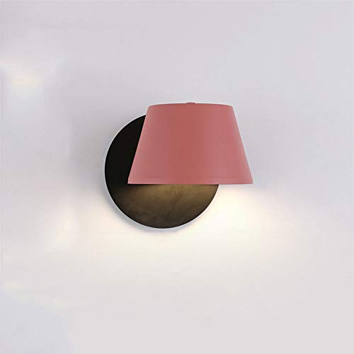 Chaude chambre lampe de mur de couleur de chevet nordique simple moderne créatif couloir escalier couloir étude belle lampe de mur de café macaron (Couleur : Rose)