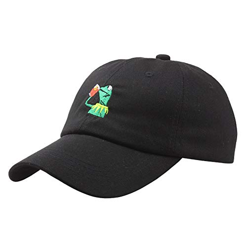 Hats Kermit Cap Baseball Cap Dad The Frog Sipping Sips Drinking Tea Embroidered Cotton Snapback Adjustable Unisex (Black)