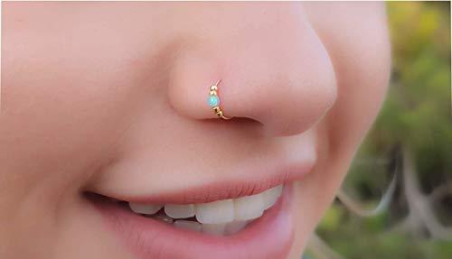 Thin 14k Gold Filled Tiny Opal Nose piercing Hoop - 2 mm Light Blue Opal piercing Nose Hoop - 24 gauge very Thin Nose Hoop Tiny Piercings Nose Rings hoop - Opal nose rings