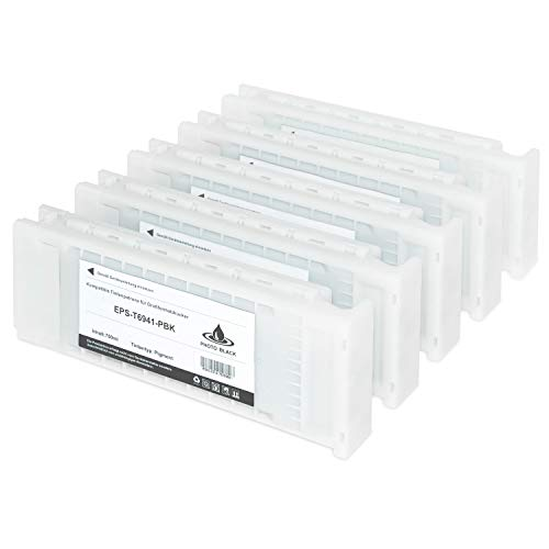 5 Tintenpatronen kompatibel für Epson SureColor C13 T6941 T6942 T6943 T6944 T694500 SC-T 3000 3200 5000 5200 7200 3270 5270 7270 D-PS POS Series W/O Stand - je 700ml