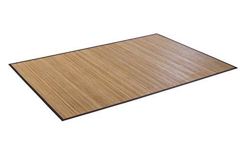 DE-COmmerce Qualitäts Bambusteppich Honey, 11mm gehärteten Stegen und filigraner Bordüre I moderner Läufer für Küche, Wohnzimmer, Schlafzimmer, Garderobe, Flur I 90 x 160 cm