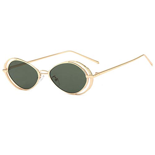 Powzz ornament Gafas de solovaladas pequeñas Vintage paramujer, gafas de sol punk retro para hombre, anteojos Steampunk, gafas de metal, gafas unisex UV400-5_Universal