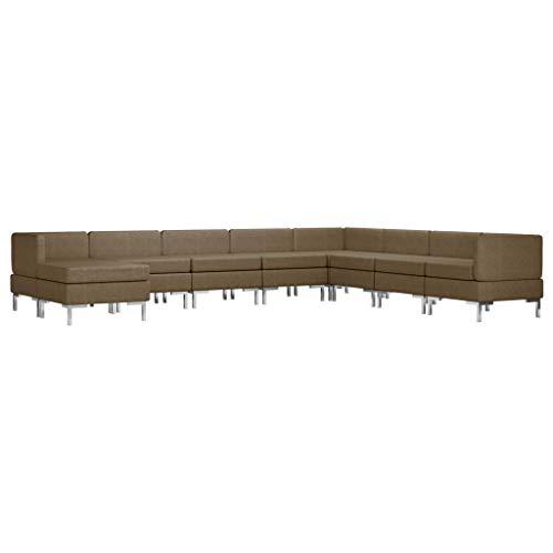 vidaXL Sofagarnitur 9-TLG. Stoffsofa Loungesofa Polstersofa Couch Sofa Couchgarnitur Polstergarnitur Sitzmöbel Mittelsofa Ecksofa Fußhocker Stoff Braun
